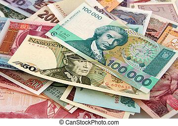 soldi, carta, straniero