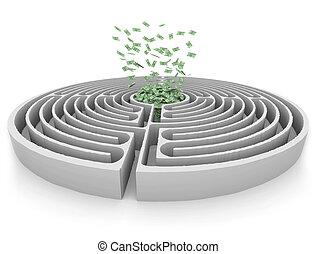 soldi, centro, labirinto