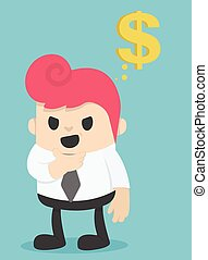 soldi, circa, pensare, illustrazione, uomo affari
