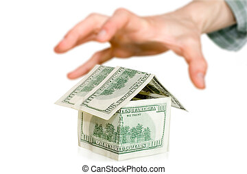 soldi, concept., affari, mano