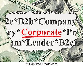 soldi, concept:, finanza corporativa, fondo