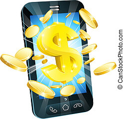 soldi, concetto, dollaro, telefono