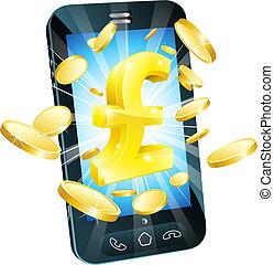 soldi, concetto, libbra, telefono