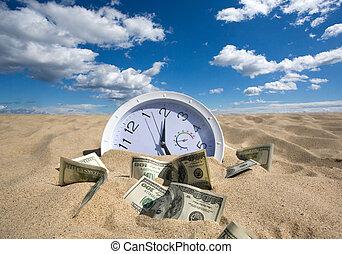 soldi, concetto, perso, tempo