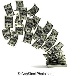 soldi, concetto, trasferimento, 3d