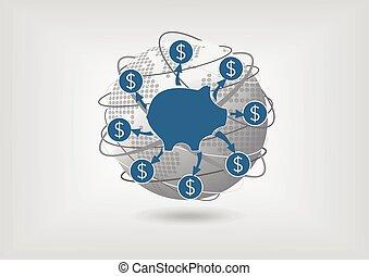 soldi, concetto, trasferimento