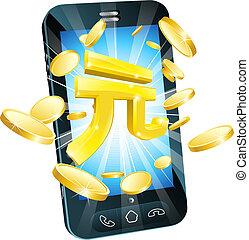 soldi, concetto, yuan, telefono