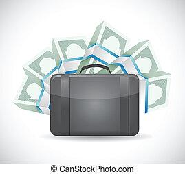 soldi, disegno, illustrazione, borsa