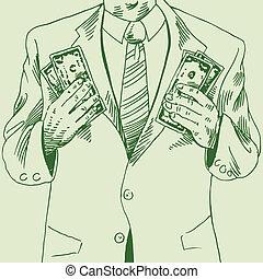 soldi, disegno, uomo