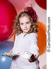 soldi, dollari, dall'aspetto, offerte, macchina fotografica., avanti, ritratto, ragazza