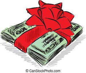 soldi, dollari, regalo, illustrazione