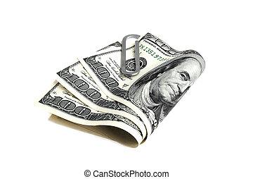 soldi, dollari, sfondo bianco, clip