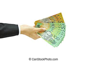 soldi, dollari, -, titolo portafoglio mano, australiano