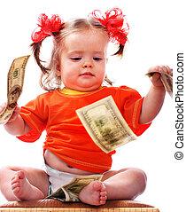 soldi., dollaro, bambino
