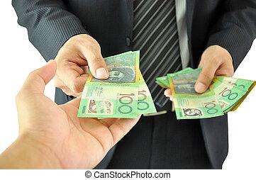 soldi, -, dollaro, mano, uomo affari, australiano,...