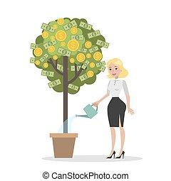 soldi, donna, albero.