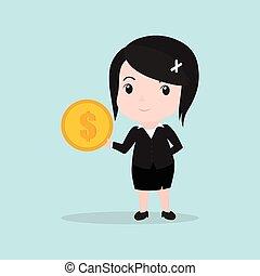 soldi, donna, concetto, presa a terra, affari