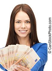 soldi, donna, contanti, euro, bello