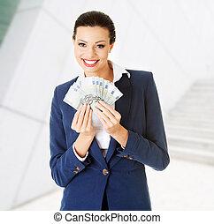 soldi, donna, felice, presa a terra, euro