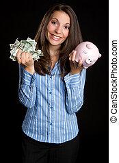 soldi, donna, risparmio