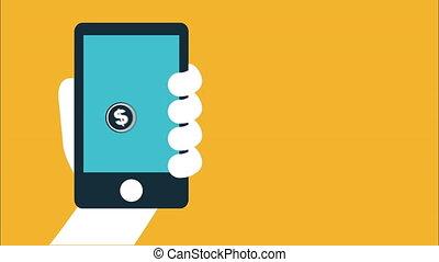soldi, e, affari, disegno, video, animazione