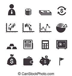 soldi, e, finanza, icona
