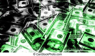 soldi, e, grafici, annodare, fondo
