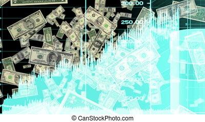 soldi, e, grafici, in, il, blu, cappio