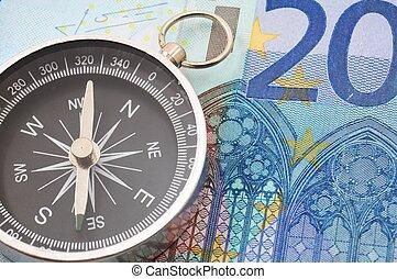 soldi, euro, bussola