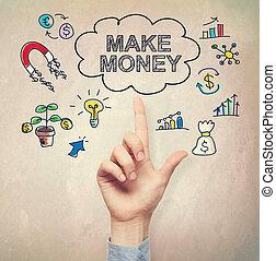 soldi, fare, concetto, indicare, mano