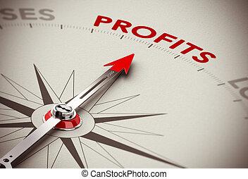 soldi, fare, crescita, -, utili