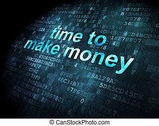 soldi, fare, sfondo digitale, tempo, concept: