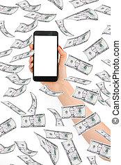 soldi, fare, smartphone, linea, volare