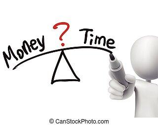 soldi, fra, 3d, scritto, tempo, equilibrio, uomo