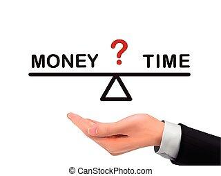 soldi, fra, mano, realistico, presa a terra, tempo, equilibrio
