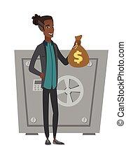soldi, giovane, presa a terra, africano, uomo affari, bag.