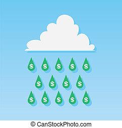 soldi, gocce, pioggia