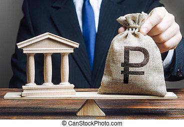 soldi, governo, rublo, balance., finanziario, payment., ...