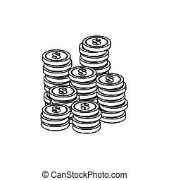soldi, immagine, contanti, relativo, icone