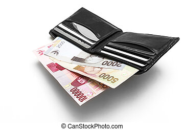 soldi, indonesiano, pieno, rupiah, portafoglio