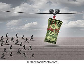 soldi, inseguire, concetto