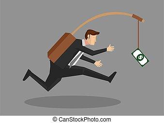 soldi, inseguire, illustrazione, uomo affari, esca, vettore, secondo, proprio