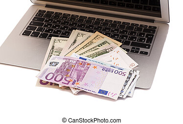 soldi, laptop, aperto, dollari, euro