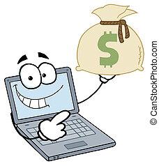 soldi, laptop, tipo, tenendo borsa