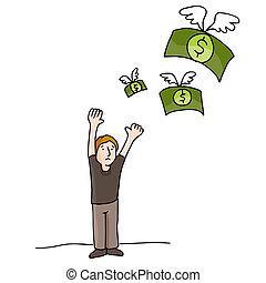 soldi, lontano, volare