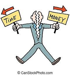 soldi, lotta, equilibrio, uomo, tempo