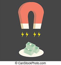 soldi, magnetico, ottenere, più