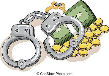 soldi, manette, conflitto, crimine