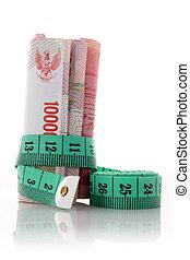 soldi, misura, sarto, verde