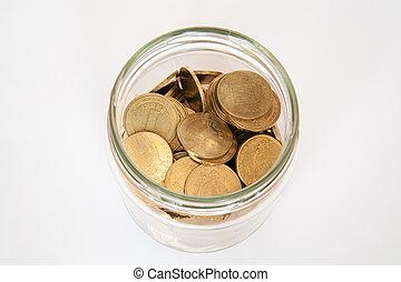 soldi, moneta, vaso